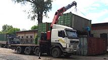Перевозка контейнеров манипулятором